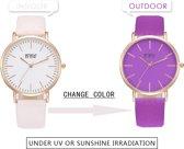 Fashionidea – mooie grote dameshorloge met rosé goudkleurige horlogekast en magische kleur verandering