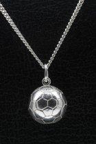Zilveren Voetbal half ketting hanger