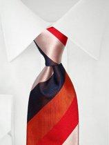 Stropdas oranje rood wit blauw strepen