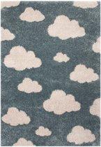 Kindervloerkleed wolken Vini - blauw/crème 120x170 cm