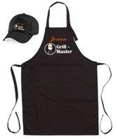 Mijncadeautje - BBQ-schort - Grill Master BBQ - met naam - zwart - XXL 97 x 68 cm - gratis Barbecue cap
