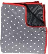 Gewatteerd picknick kleed grijs met witte stip