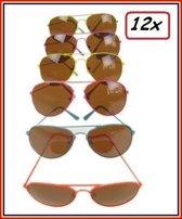12x Pilotenbril fluo frame 6 kleuren ass