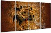 Glasschilderij Klok | Bruin, Goud, Geel | 160x80cm 4Luik | Foto print op Glas |  F000739