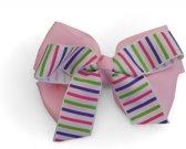 Jessidress Meisjes Haarclip met grote Haar strikje van strippen - Roze