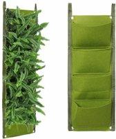 Plantenhanger 4 zakken - Plantenbak - Plantenrek - Hangende tuin - Verticale moestuin - Groen