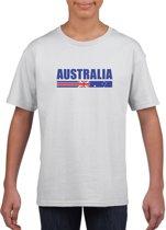 Wit Australie supporter t-shirt voor jongens en meisjes - Australische vlag shirts L (146-152)