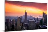Zonsondergang over het Empire State Building Aluminium 120x80 cm - Foto print op Aluminium (metaal wanddecoratie)
