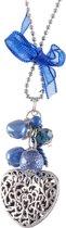 lange ketting metaal  90cm met hanger in hartvorm + strik, donker blauw