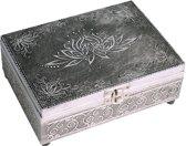 Kaarten- en sieradendames - Tarotdoos - Zilver - Lotus figuur - 18 x 13 x 6 cm (LxBxH) |  Mooi reliëf op deksel