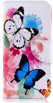 Shop4 - Samsung Galaxy A6 (2018) Hoesje - Wallet Case Gekleurde Vlinders