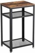 Plant&More - Bijzet tafel - Zwart metalen frame - MDF - Rustiek bruin
