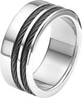 Lucardi - Stalen heren ring met zwarte kabels