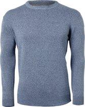 Redmond heren trui katoen - O-hals - blauw melange -  Maat XL