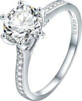 Ring Zilver met grote steen en kleine steentjes | 925 Sterling Zilver | net zo waardevol als pandora maar dan goedkoop | direct snel leverbaar | US maat 7 | Pandora maat 54 | 17.25 mm max diameter | Tracelet