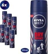 NIVEA Men Dry Impact Spray - 6 X 150ml voordeelpakket