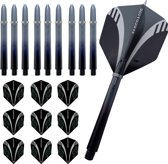 ABC Dart Flights en Darts Shafts Medium - tribal zwart - 3 sets