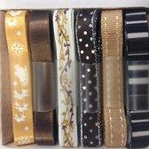 Ribbon 6 stuks x 1 meter, 10 mm breed bruin