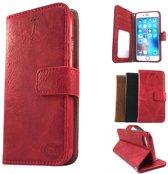Samsung J5 2016 Suede look gevlamd rood boekhoesje met vakje voor pasjes geld en een fotovakje en polsbandje