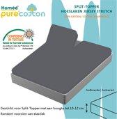 Homéé - Splittopper Hoeslaken Jersey Katoen - Antraciet - 180 x 200/210/220+10cm