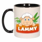1x Lammy beker / mok - zwart met wit - 300 ml keramiek - schapen bekers