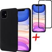 iPhone 11 Hoesje + Screenprotector Full Screen - Liquid Soft Siliconen Case - iCall - Zwart