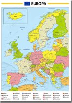 Poster Kaart Europa - 70x100 Cm - Multi