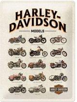 Harley-Davidson 14 Models Metalen wandbord in reliëf 30x40 cm