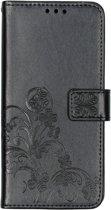 Klavertje Bloemen Booktype Nokia 3.2 hoesje - Zwart