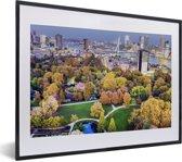 Foto in lijst - Luchtfoto van de Nederlandse stad Rotterdam fotolijst zwart met witte passe-partout klein 40x30 cm - Poster in lijst (Wanddecoratie woonkamer / slaapkamer)