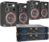 Mega geluidsset met 4 speakers, 2 versterkers en aansluitmateriaal.