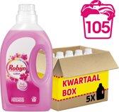 Robijn Color Pink Sensation Vloeibaar - 105 Wasbeurten - 5 x 1,41 l - Wasmiddel - Kwartaalbox