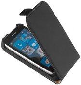 LELYCASE Lederen Flip Case Cover Hoesje Nokia Lumia 610 Zwart