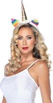 Leg Avenue A1962 Leg Avenue 'Eenhoorn haarband - witte diadeem met gouden hoorn en gekleurd haar