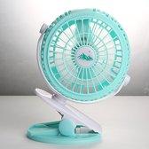 Regelbaar Tafelventilator 360° Draaibaar Ventilator met Clip accu en oplaadkabel - Kleur - Bleu turquoise