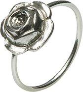 Verzilverd Dolce Luna vriendschapsringetje met roosje. Een fraai geschenk.