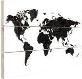 Wereldkaart zwart Hout 30x20 cm - klein - Foto print op Hout (Wanddecoratie)