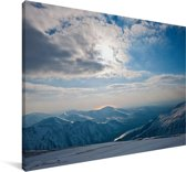 Winterlandschap van het Nationaal park Snowdonia Canvas 90x60 cm - Foto print op Canvas schilderij (Wanddecoratie woonkamer / slaapkamer)