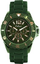 Colori Classic Chic 5 COL251 Horloge - Siliconen Band - Ø 44 mm - Donker Groen