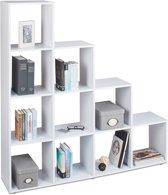 relaxdays - boekenkast hout met 10 vakken - roomdivider - trapvormige rek / kast wit