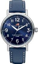 River Woods RW420015 Sacramento horloge Heren - Blauw - Leer 42 mm