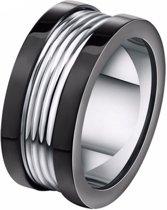 Mendes mannen ring Edelstaal Groeven Zilver Zwart-21.5mm