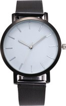 Vintage Mesh Horloge - Staal - Zwart Wit