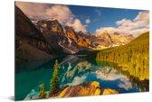 Zonsopkomst in het Nationaal park Banff in Noord-Amerika Aluminium 180x120 cm - Foto print op Aluminium (metaal wanddecoratie) XXL / Groot formaat!