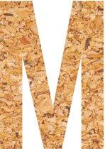 Kleefletter - plakletter - prikbord - kurk - vegan - letter M - 10 cm hoog