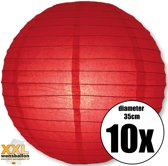 10 rode lampionnen met een diameter van 35cm