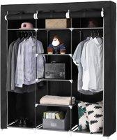 XXL Extra Grote Kleerkast in Stof en Metaal - Stoffen Garderobekast voor Kleding - Zwart