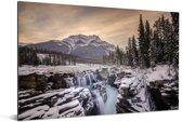 Zonsopkomst in het Nationaal park Jasper in Noord-Amerika Aluminium 120x80 cm - Foto print op Aluminium (metaal wanddecoratie)