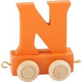 Houten lettertreintje N, oranje