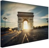 Arc de Triomphe zonsopgang Parijs Canvas 30x20 cm - klein - Foto print op Canvas schilderij (Wanddecoratie woonkamer / slaapkamer) / Steden Canvas Schilderijen